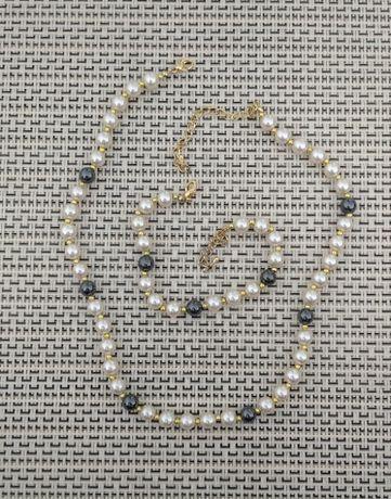 Ładny naszyjnik + bransoletka ( imitacja pereł )