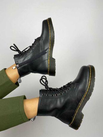 Женские ботинки на осень натуральная кожа черные в стиле dr Martens