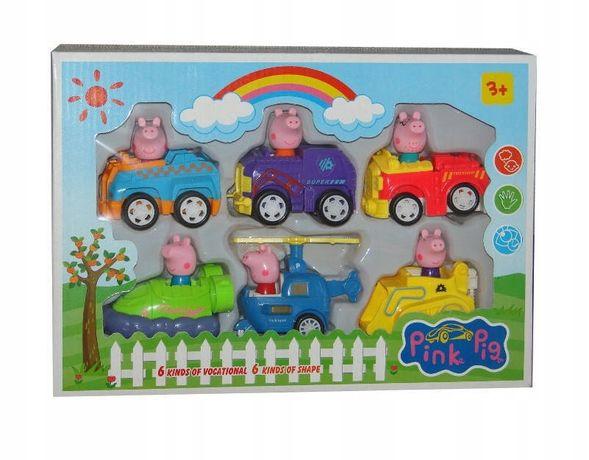 ŚWINKA PEPPA AUTKA zestaw 6szt PEPA Auta z Napędem Figurki