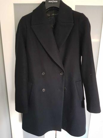Płaszcz wełniany Zara, czarny, dwurzędowy
