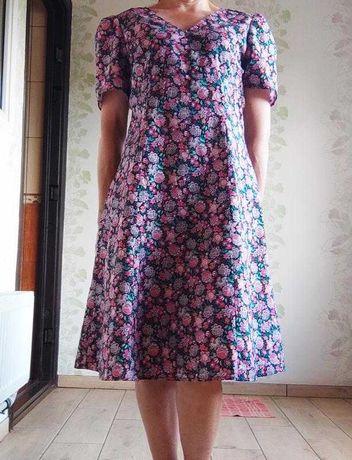 Хлопковое платье миди в цветы
