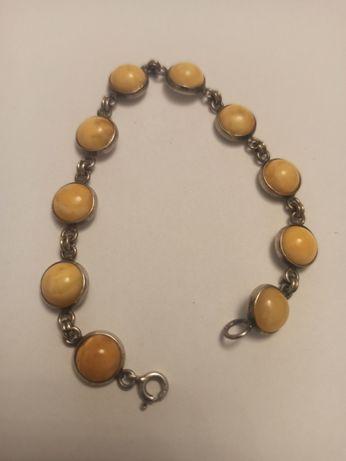 Kolekcja bransoleta damska srebro 925 i bursztyn