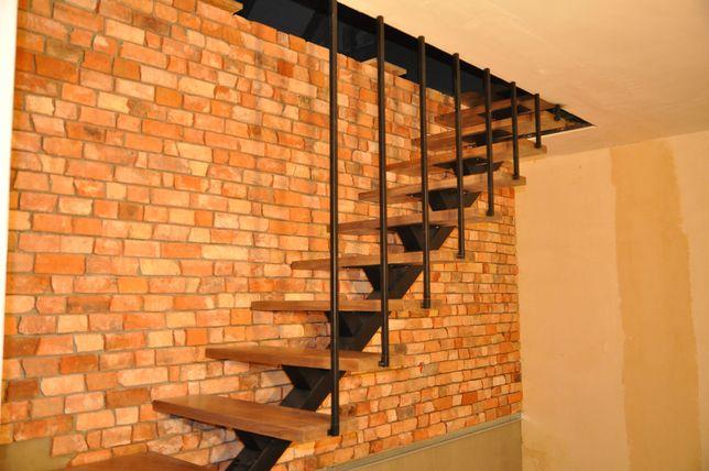 Schody meble industrialne loftowe metal drewno szkło