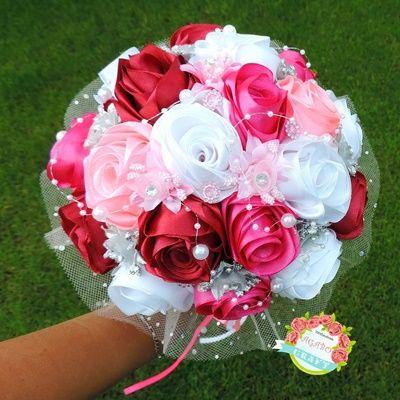 Bukiet ślub ze wstążki róże ślubny rękodzieło trwały wstążka