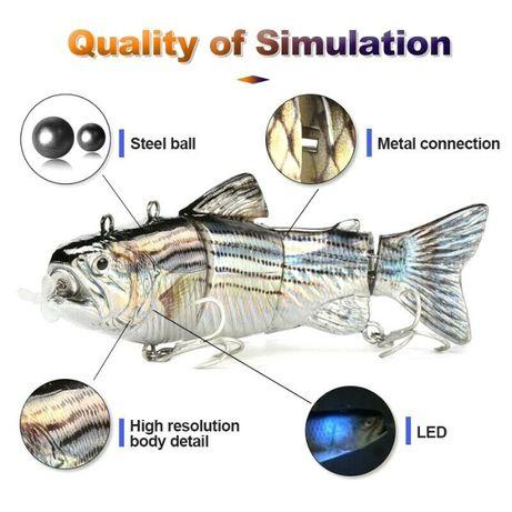 Amostra isca pesca elétrica bateria recarregável spinning robalo