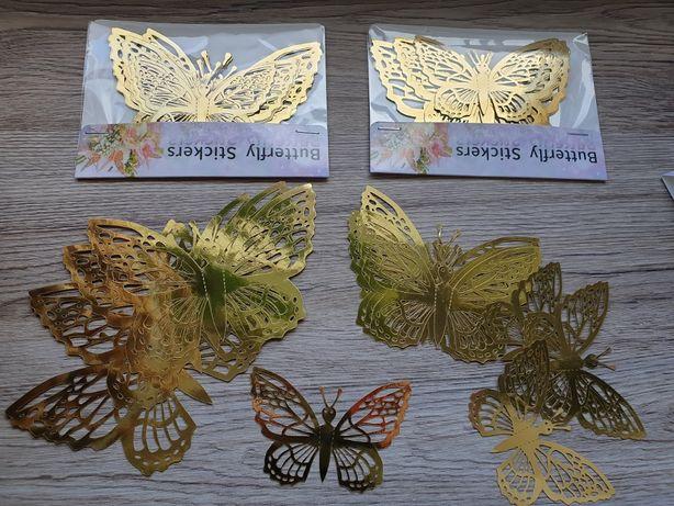 Złote motyle 3D 3 opakowania naklejana na ścianę