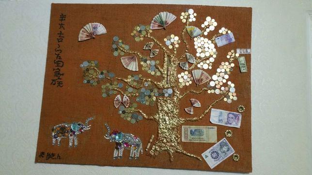 Картина денежное дерево ручной работы