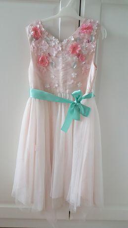 Unikatowa piękna sukienka tiulowa wizytowa wesele urodziny komunia