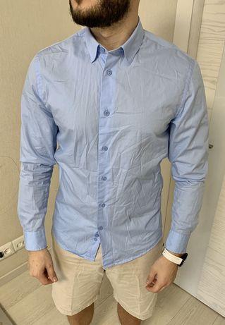 Рубашка Классическая. Kariban. Мужская. Голубая. М. Тенниска.