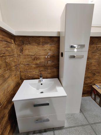 Zestaw mebli łazienkowych, umywalka, słupek, bateria, szafka, biały