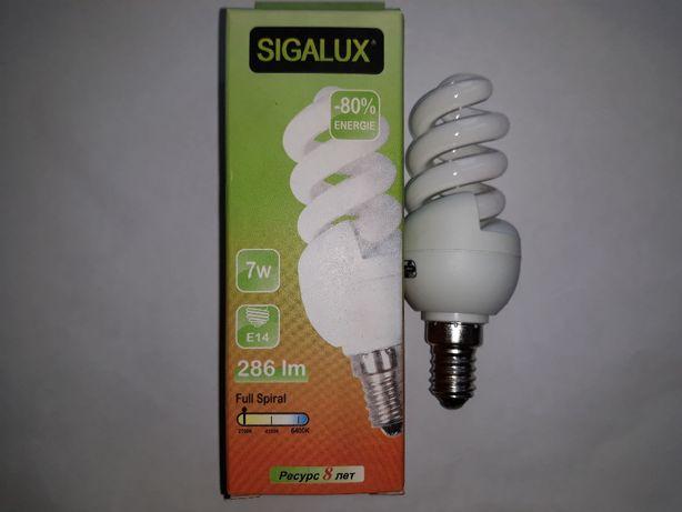 Энергосберегающая лампа SIGALUX 7w 2700k E-14. Распродажа !!!