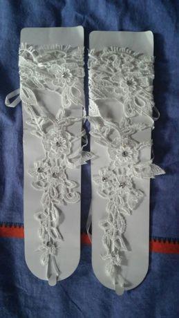 Rękawiczki ślubne koronkowe gipiurowe z cyrkoniami nowe