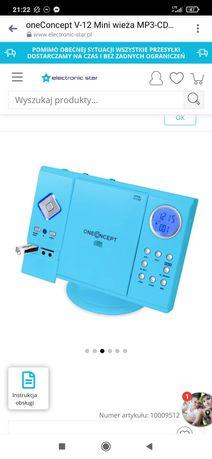 Mini wieża MP3-CD-Player USB SD FM niebieska