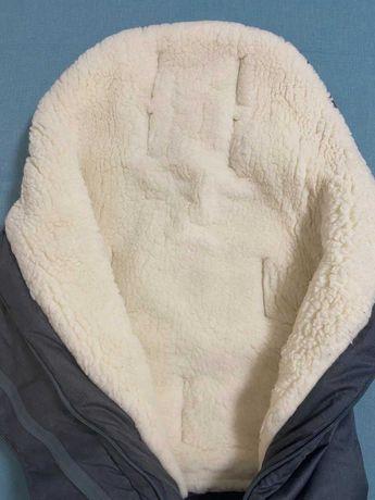 Конверт зимовий для коляски + рукавички/муфта для рук. Овчина