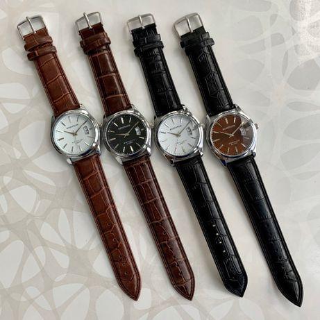 Мужские часы искусственная эко кожа Kingnuos чоловічий годинник чорний