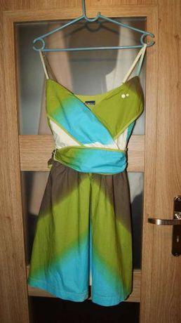 Sukienka na ramiączka zielono-niebiesko-brązowa M/L 38/40 bawełna
