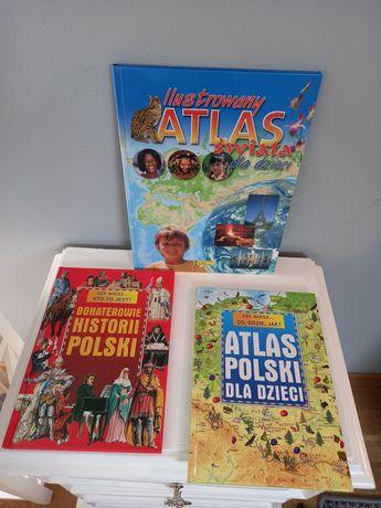 Trzy atlasy dla dzieci.
