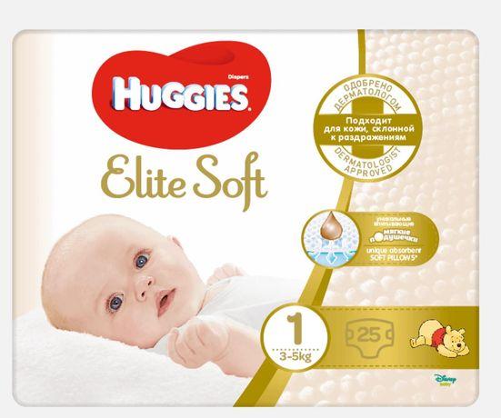 Huggies Elite Soft 1 2 пачки по 25 шт