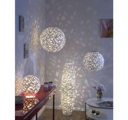 Orientalna biała kula plecionka lampa wisząca KAKI E27 40 cm średnicy