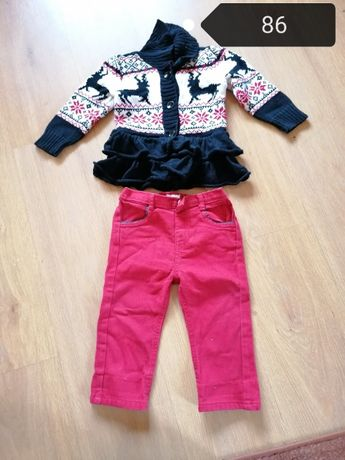 Ubrania spodnie legginsy sztruksy jeansy sweter 86
