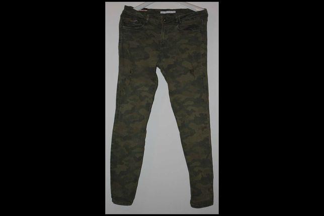 M 40 spodnie damskie ZARA moro jeansy TRAFALUC khaki