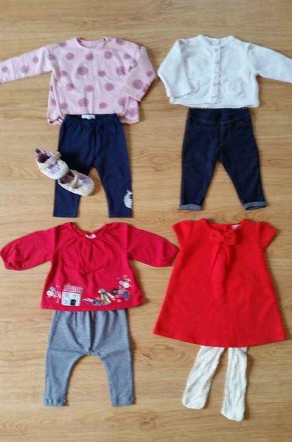 Zestaw ubranek dla dziewczynki 68 kurtka legginsy bluzki komplety Next