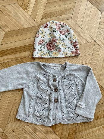 Newbie KappAhl zestaw czapka jesienna przejściowa i sweterek 68 4-6 ms