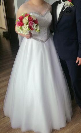 Suknia ślubna 42-44 śnieżna biel