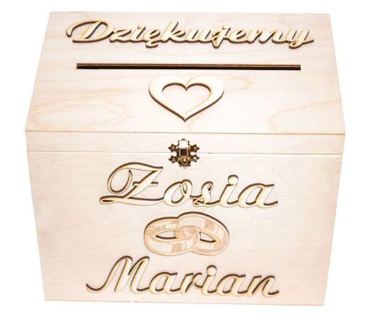 ***Skrzynka pudełko na koperty ślub wesele drewniane Imię***