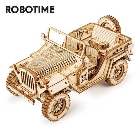 Деревянная модель, конструктор, 3D-пазл - Армейский Джип Robotime