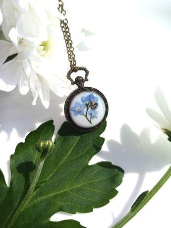 Кулон с незабудками, подвеска с цветами, кулон часы