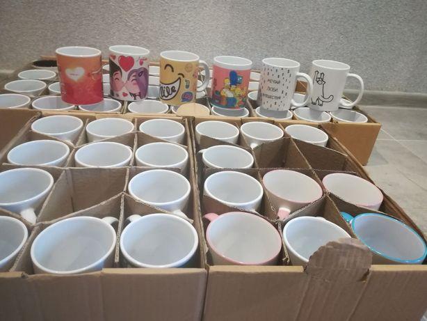 Чашки білі з принтами 375мл. Опт