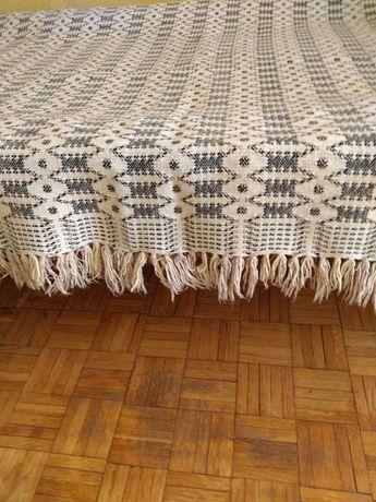 Wełniana tkana narzuta dwustronna kapa na łóżko klim PRL 140x194