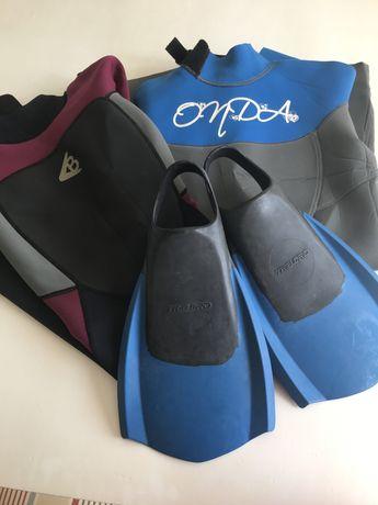 Conjunto Fato curto da Onda e barbatanas (38/39) Bodyboard