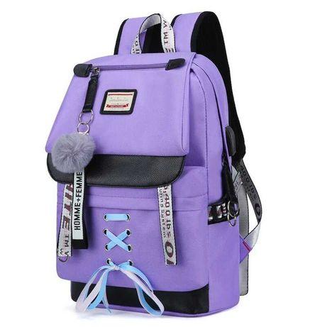 Стильный школьный рюкзак для девочки с usb-портом. 4 цвета