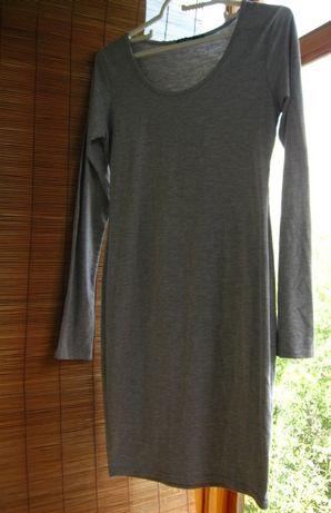 серое трикотажное хлопковое платье, зимнее, деми, летнее, 10 С р. торг