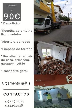 Demolições, recolhas,recheios, madeira, lixos, móveis velhos, etc