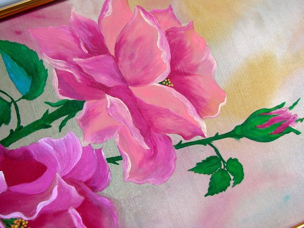 "Картина на шелке ""Розы в технике батик"" – handmade. Размер 50x26 см"