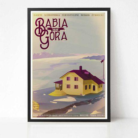 Plakat - Babia Góra - Dawne Schroniska Turystyczne  - retro