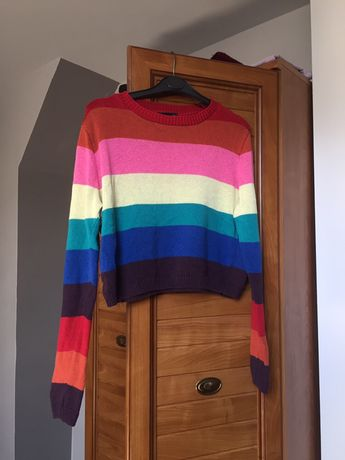 krotki kolorowy sweter new look