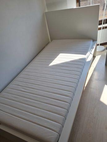 Cama+ estrado+ cabeceira+ colchão solteiro branca otimo estado
