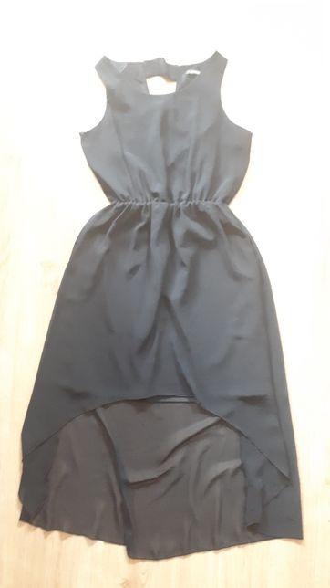 Sukienka lekka czarna letnia asymetryczna S