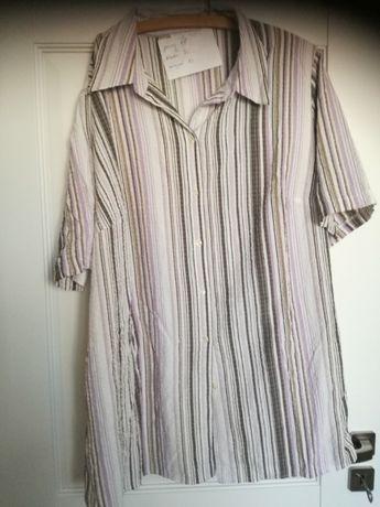 Duże rozmiary Bluzka koszulowa krótki rękaw biała w paski 56/58