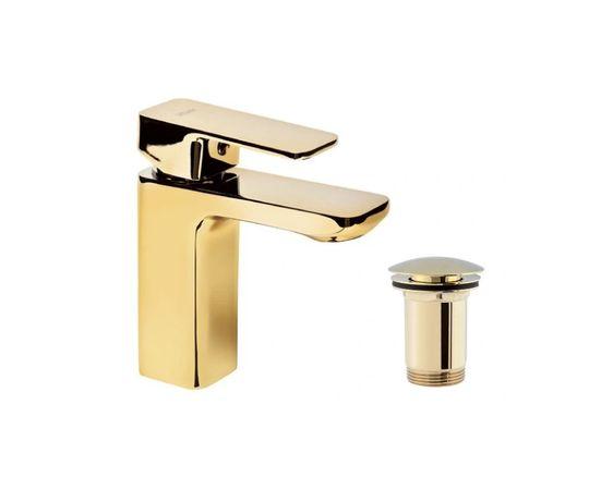 VALVEX Bateria umywalkowa Złota Gold +korek klik klak złoty