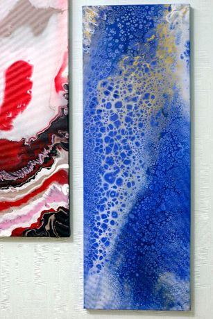 Картина в современный интерьер абстракция акрил холст лак fluid art