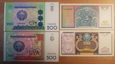 Uzbekistan zestaw 4 banknotów UNC stan idealny!