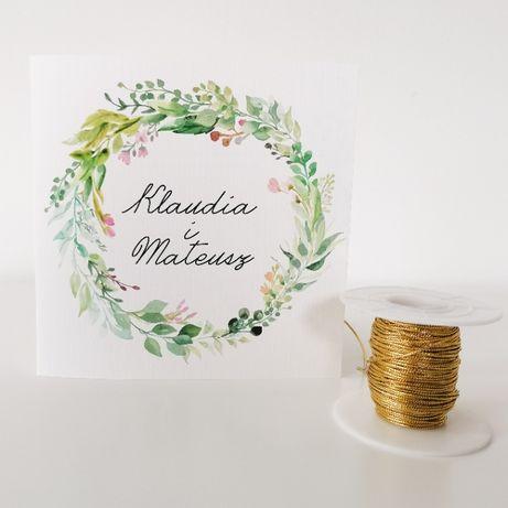 Zaproszenia ślubne delikatny WIOSENNY RING zielone