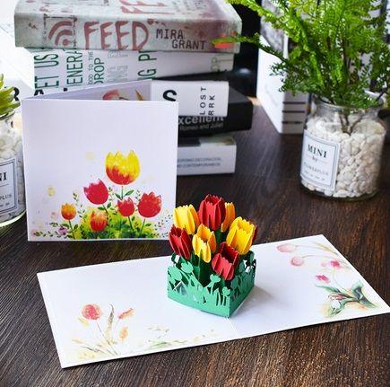 Открытка объемные тюльпаны