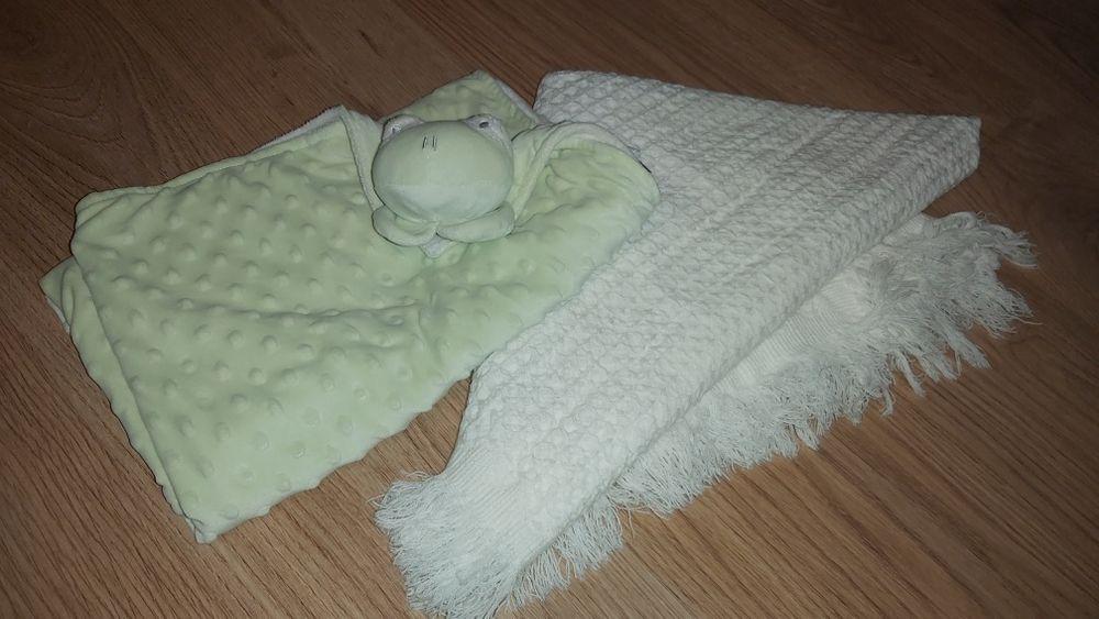 Kocyki dziecięce biały waflowy i seledynowa żabka minky home&you Miasteczko Śląskie - image 1