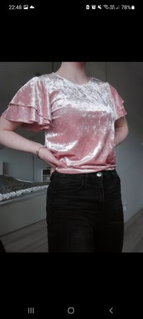 Koszulka bluzka welurowa z falbankami
